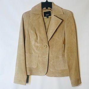 Women's Mossimo Tan Leather Two Button Blazer-Sz S